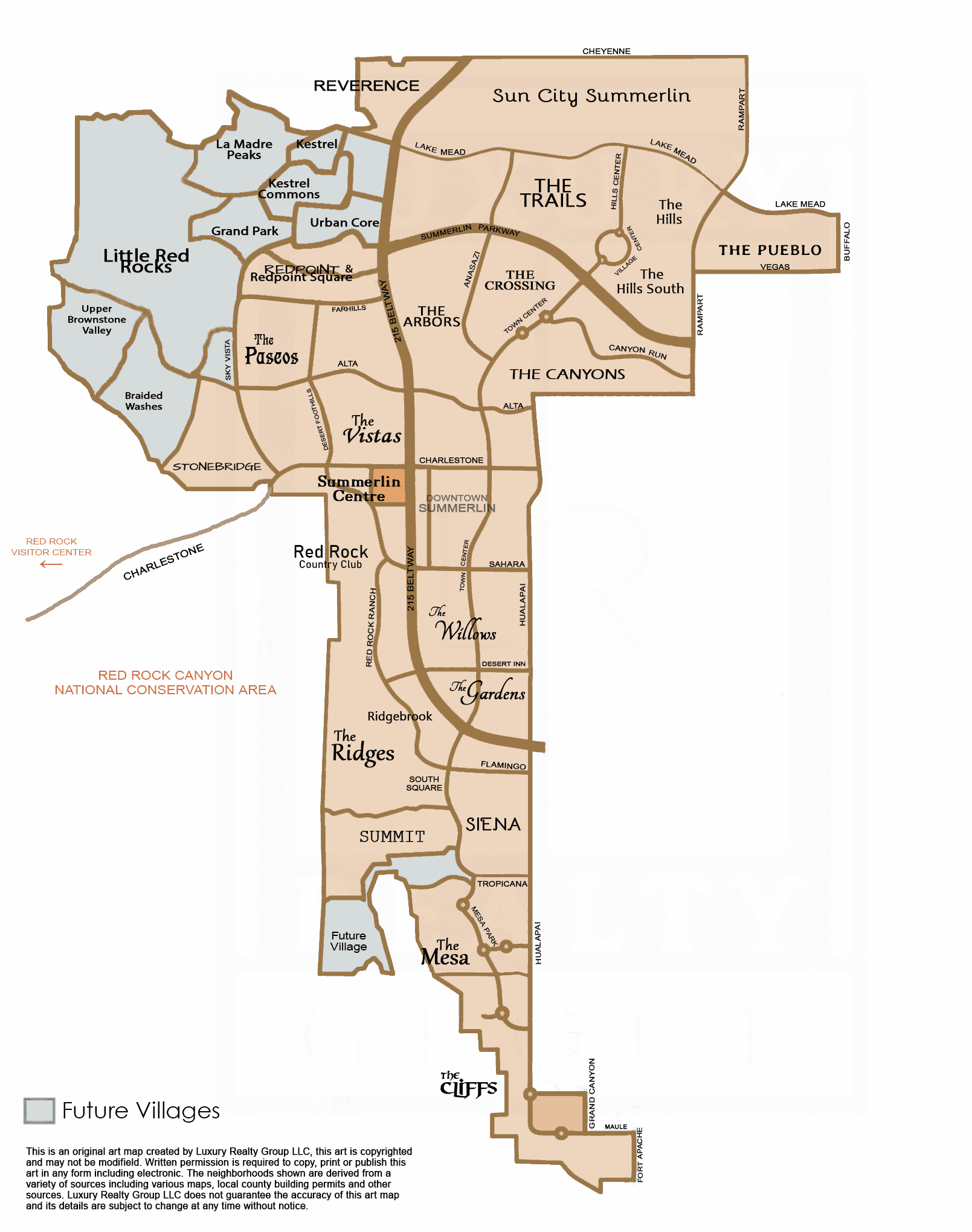 Summerlin Border Map by Luxury Realty Group LLC 2021.
